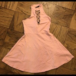 New express pink halter style dress